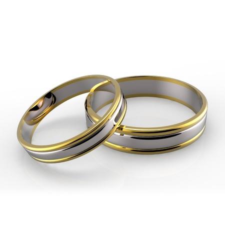 wedding bands: Primer plano de platino y bandas de oro de la boda en el fondo blanco Foto de archivo