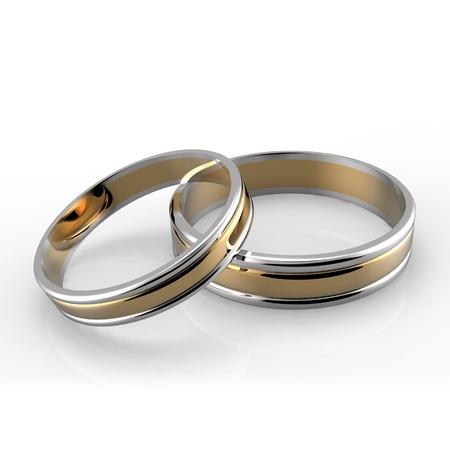 wedding  ring: Primer plano de platino y bandas de oro de la boda en el fondo blanco Foto de archivo
