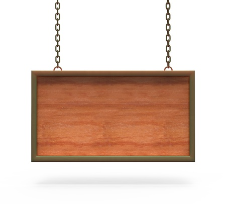 Wood Sign Board hanging on the chains