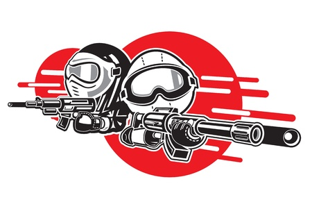 army background: Cartoon Boy and Girl play airsoft guns