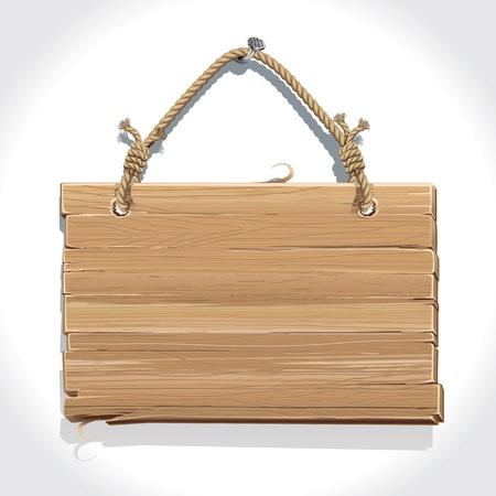 se�ales de precaucion: Cartel de madera con una cuerda colgada de un clavo