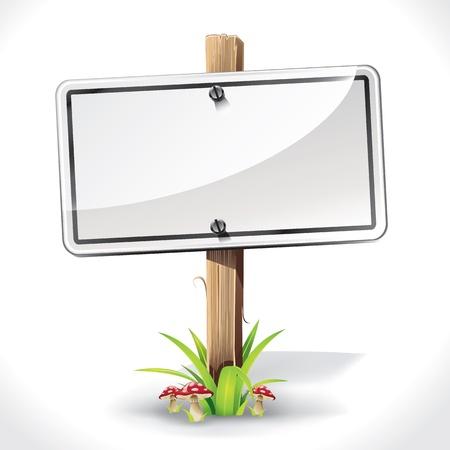 letrero: Junta signos colgando con poste de madera en una hierba y la ilustración vectorial setas
