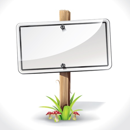 blank road sign: Signs Board hanging with wood pole on a grass and mushrooms  vector illustration Illustration