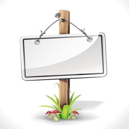 letreros: Junta de signos con una cuerda de alambre que cuelga de un clavo con el poste de madera en una hierba y la ilustraci�n vectorial setas Vectores