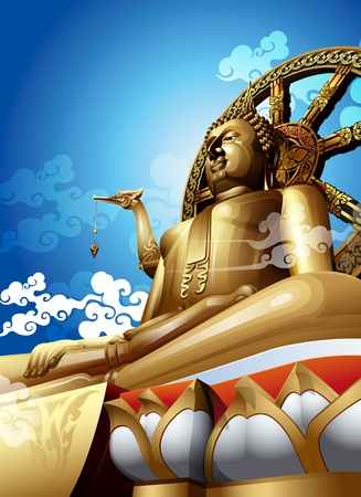 Statue of Big buddha in thailand on blue sky  Illustration