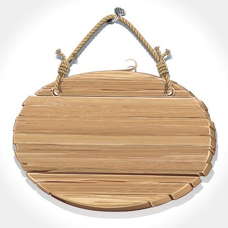 Cartel de madera con una cuerda colgada de un clavo