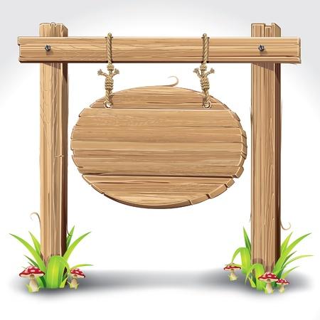 wooden post: Tableros de madera con el cartel que cuelga en una cuerda de hierba y la ilustraci�n vectorial setas
