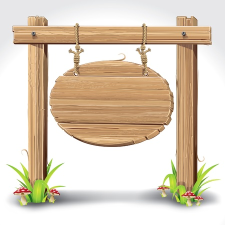 wood sign: Wood Sign Board hanging with Rope on a grass and mushrooms  vector illustration