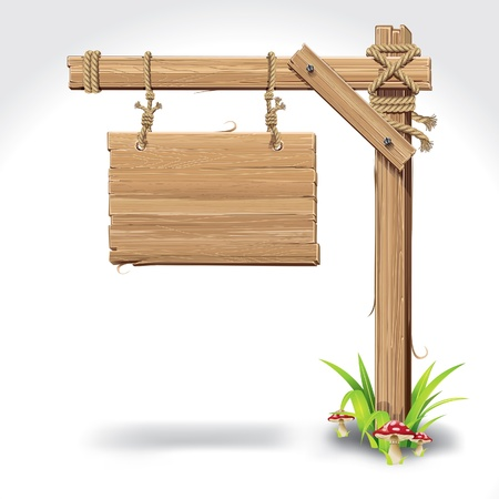 pancarte bois: Panneau de signalisation en bois suspendus avec corde sur une herbe et illustration vectorielle champignons