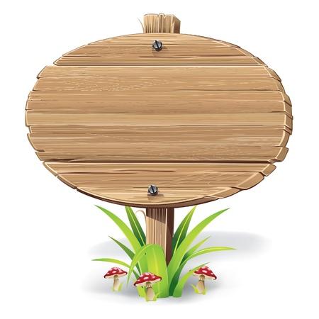 letreros: Cartel de madera sobre un c�sped con ilustraci�n vectorial setas