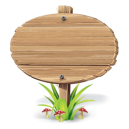 Wooden sign on a grass with mushrooms  vector illustration Illustration