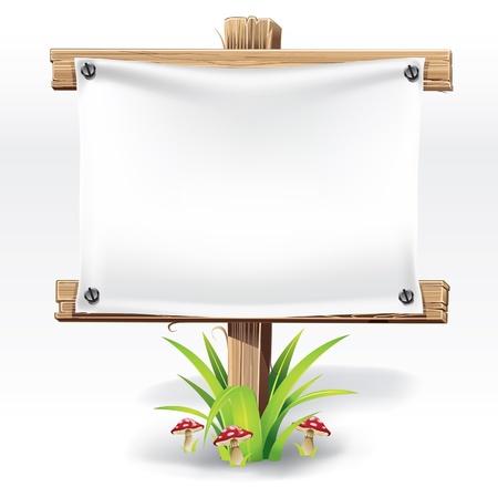Cartel de madera y papel en una hierba con ilustración vectorial setas