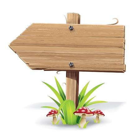 Cartel de madera sobre un césped con ilustración vectorial setas