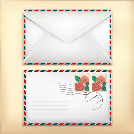 old envelope: Envelop Front   Back with Stamp on Old Background