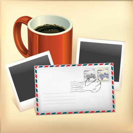 Set of Envelope, Stamp, Coffee cup and Instant photo frame  Vector