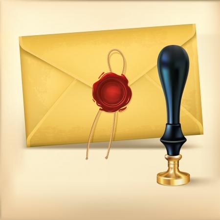 オープンエア: 茶色の封筒と Rad ワックス ワックス シール スタンプ  イラスト・ベクター素材