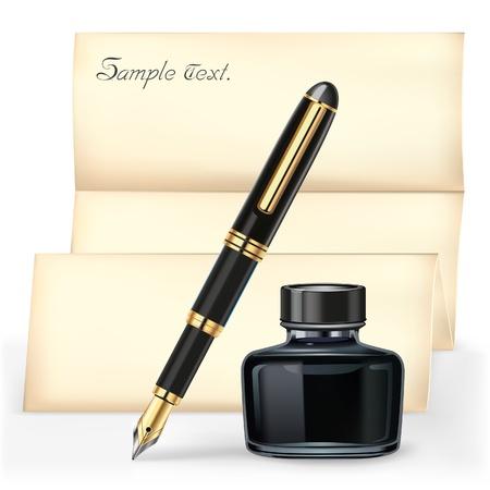 Pluma negro y la botella de tinta con el papel de carta de Brown