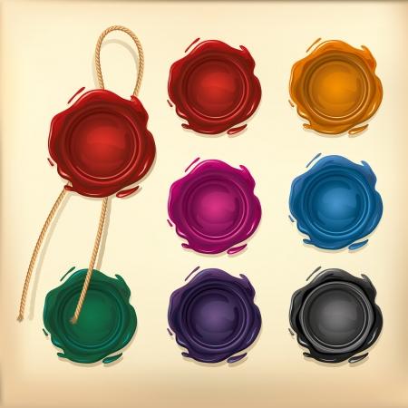 Juego de sello de cera de color con una cuerda Ilustración de vector