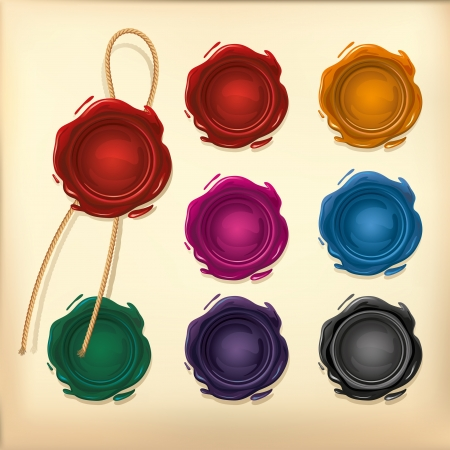 certificate background: Set of Color Wax seal with rope