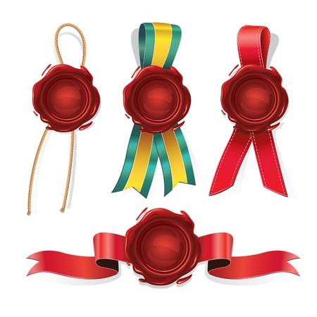 Serie di sigilli di cera rossa