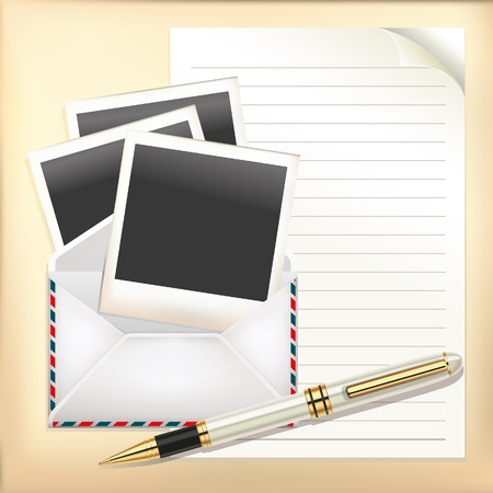 grunge photo frame: Set di buste, carta, penna e cornice per foto istantanea Vettoriali
