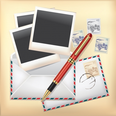 photo of accessories: Set of Envelope, Stamp, Pen and Instant photo frame