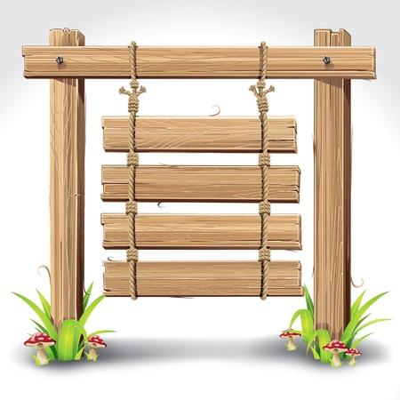 Tableros de madera con el cartel que cuelga en una cuerda de hierba y la ilustración vectorial setas