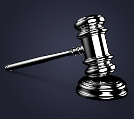 Judge gavel on blue background with clipping path. photo