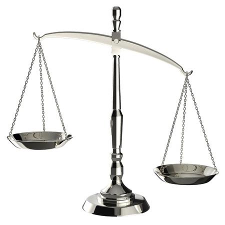 balanza en equilibrio: Escamas de plata de la justicia aislado en fondo blanco con trazado de recorte.