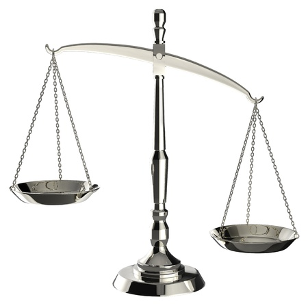 imbalance: Zilveren schalen van rechtvaardigheid op een witte achtergrond met het knippen weg.
