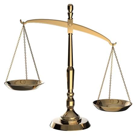 balanza justicia: Escamas de oro de la justicia aisladas sobre fondo blanco con saturaci�n camino.