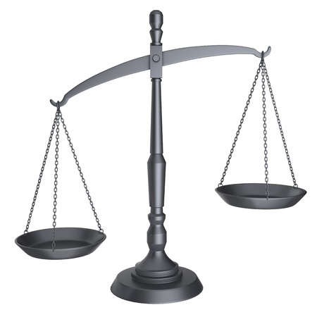 attorney scale: Black scales of justice isolated on white background.