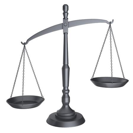 balanza justicia: Las escalas de negro de la justicia aisladas sobre fondo blanco.