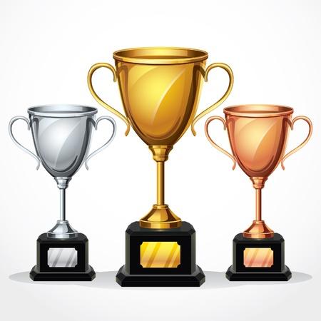 trofeo: Trofeo tazas de ilustraci�n Vectores