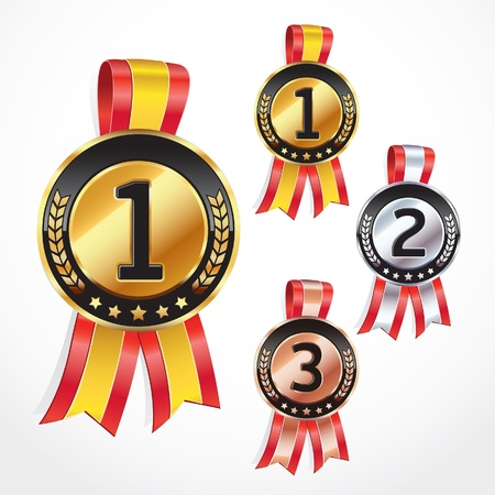 Set of Medals with ribbon illustration Stock Vector - 13926972