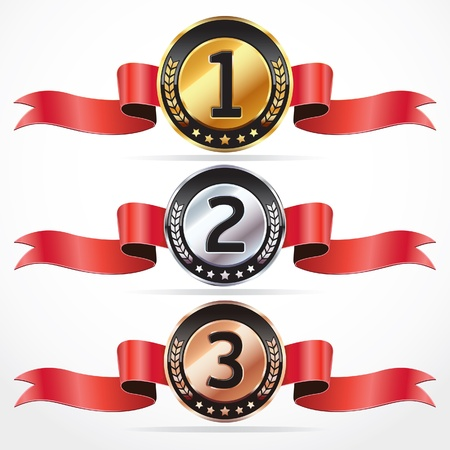 Set of Medals with ribbon illustration  Vector