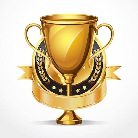Golden award trophy and Medal illustration