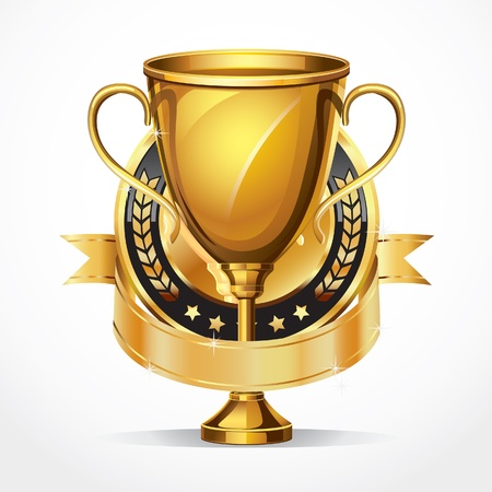 Gouden prijs verbonden trofee en medaille illustratie