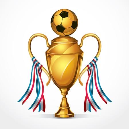 サッカー ゴールデン賞トロフィーやリボン図