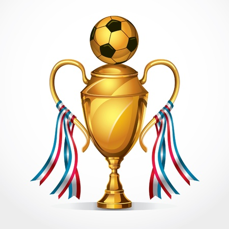 football trophy: Soccer Golden award trophy and ribbon illustration
