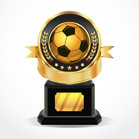 achieve goal: Soccer Golden Award Medals illustration