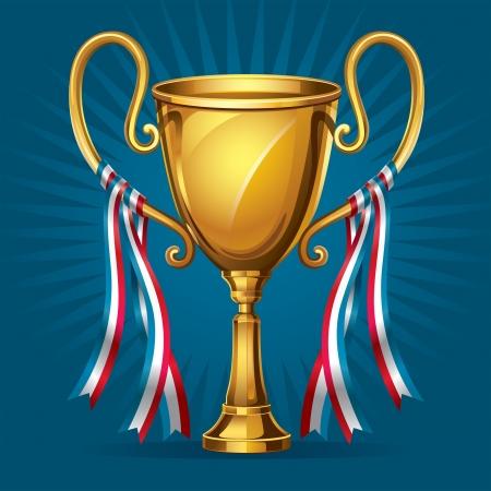 trophy winner: Zlaté ocenění trofej a pásky ilustrace Ilustrace
