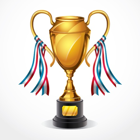 Golden award trophy and ribbon illustration  Vector