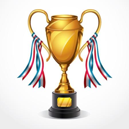 kroes: Gouden award trofee en lint illustratie