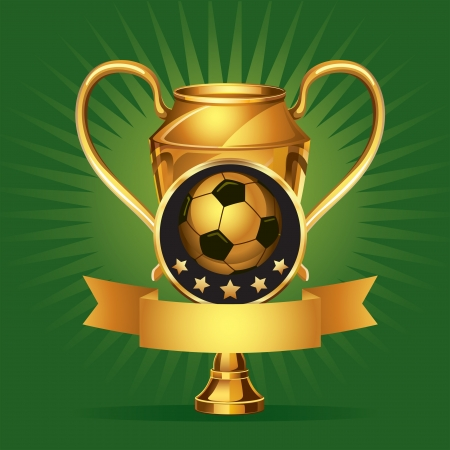 football trophy: Soccer Golden award Medals illustration
