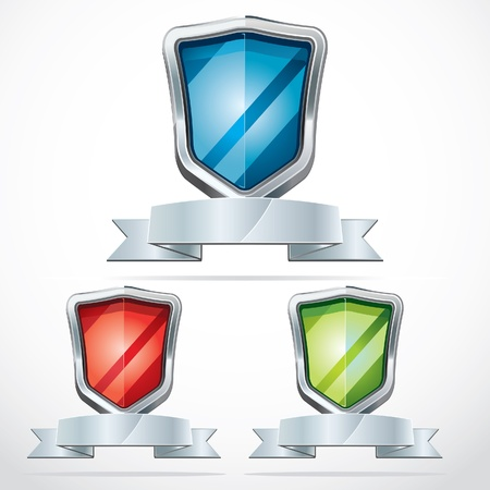 heraldic:  Protection shield security icons illustration