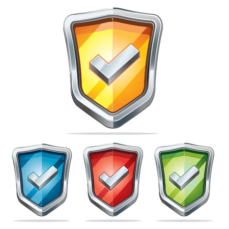 security icon:  Protection shield security icons illustration