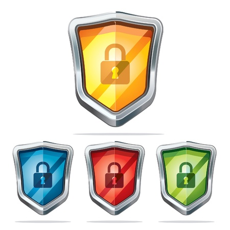blue grey coat: Protection shield security icons illustration