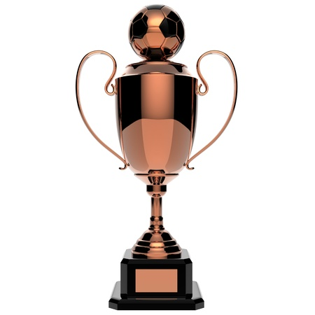 Soccer Copper award trophy isolated on white background Stock Photo - 13926965