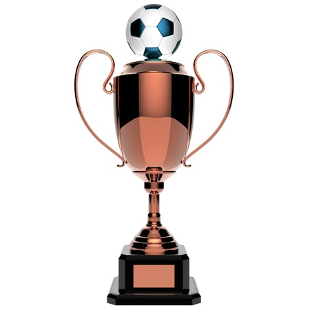 Soccer Copper award trophy isolated on white background photo